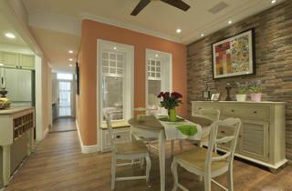 简朴田园风格室内餐厅相片墙装潢效果图