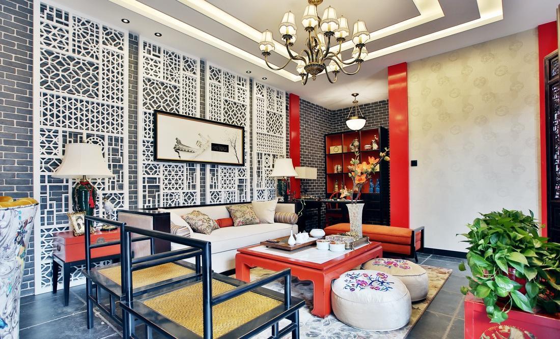 红色靓丽新中式风格客厅布置装饰效果图