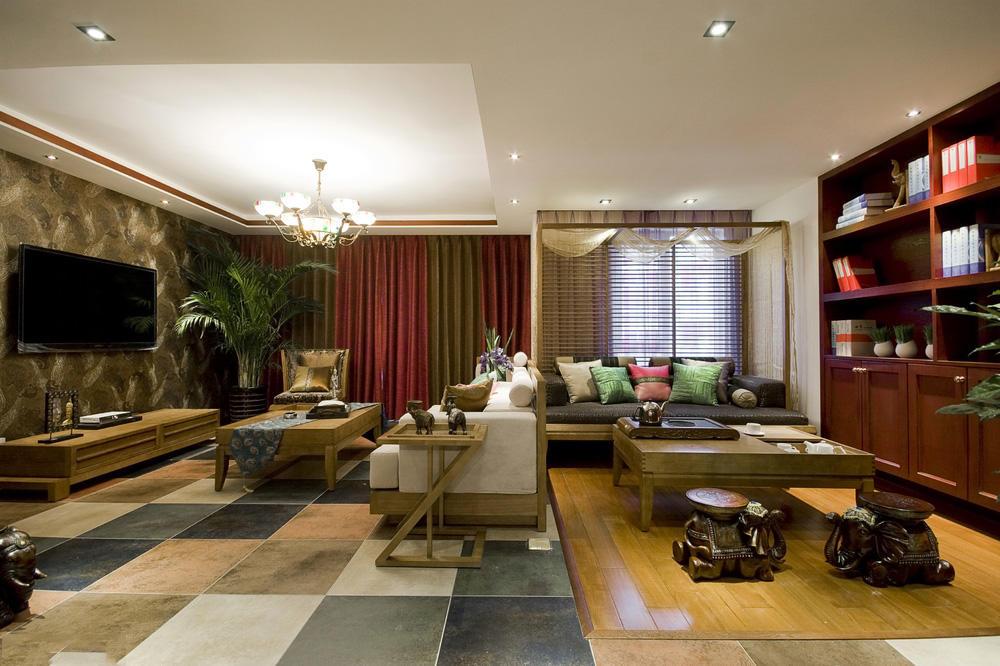 色彩深韵新中式设计客厅电视背景墙效果图