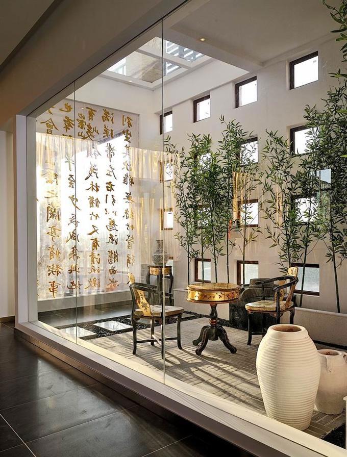 雅致清新中式茶室玻璃隔断效果图