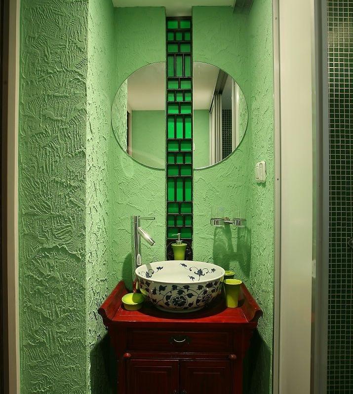 典雅新中式洗手台绿色背景墙效果图