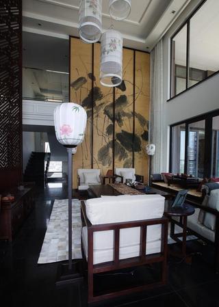 儒雅中式挑高客厅效果图