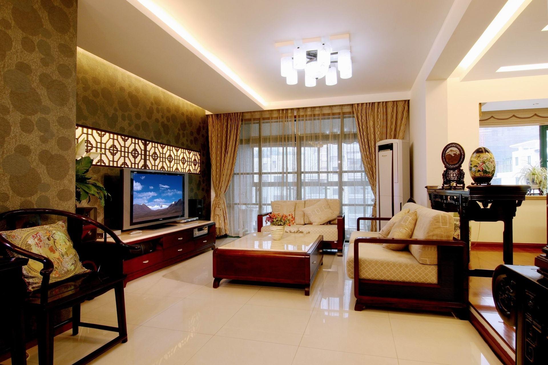 中式风格三居客厅红木家具效果图