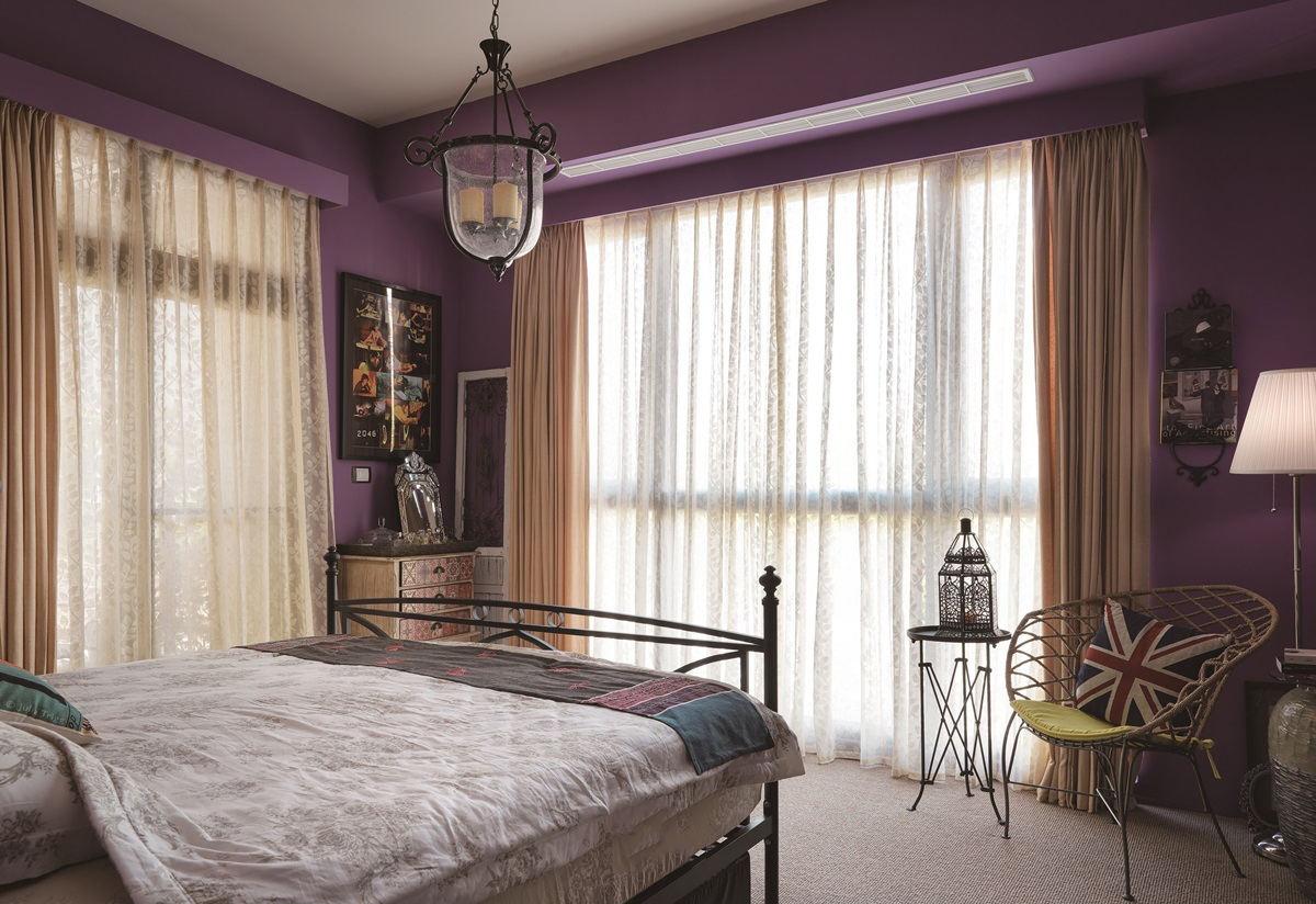 典雅大方复古美式卧室紫色背景墙效果图片