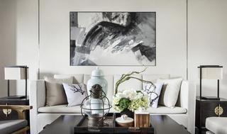 素雅时尚简约中式客厅相片墙壁画效果图