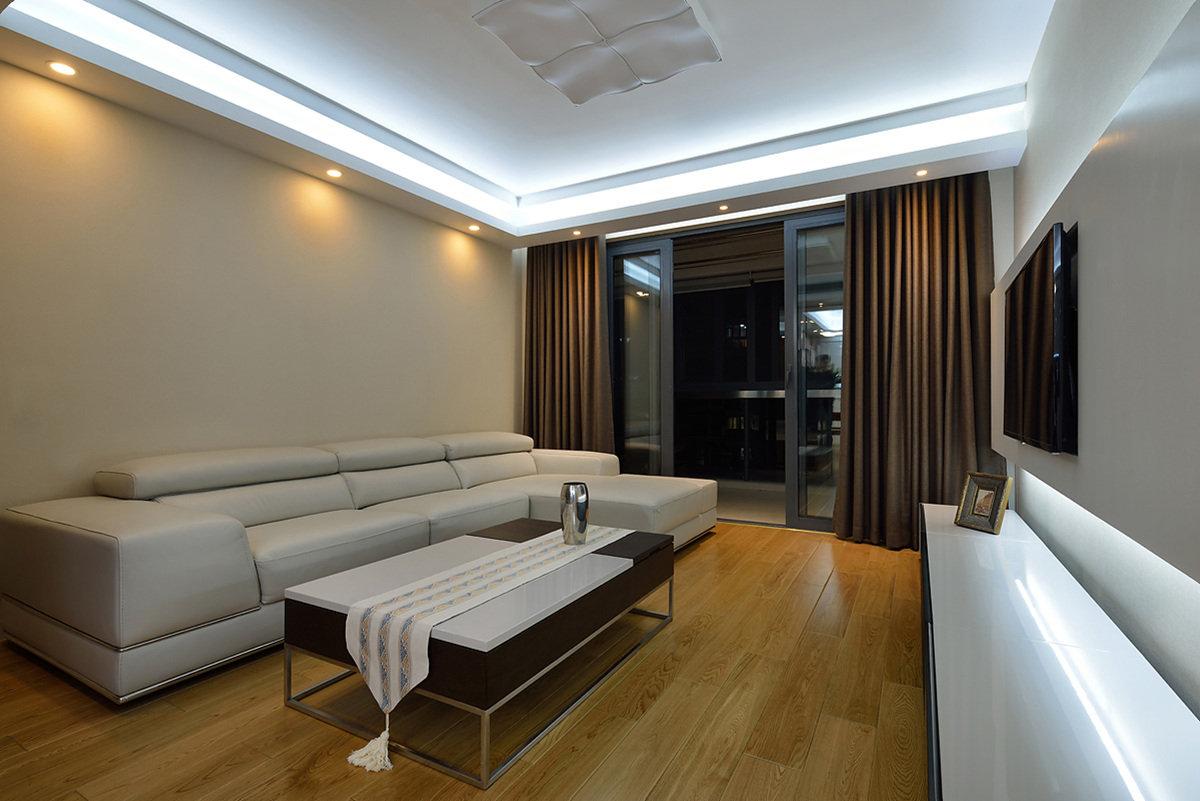 现代简约大方客厅窗帘效果图
