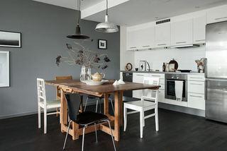 北欧风格摩登居家餐厨房一体效果图