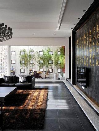 低奢现代中式别墅庭院装修案例效果图