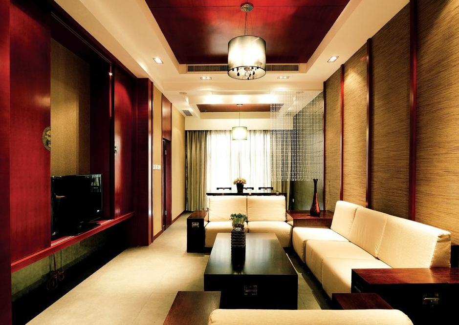 红色艳丽后现代风格复式室内装修效果图