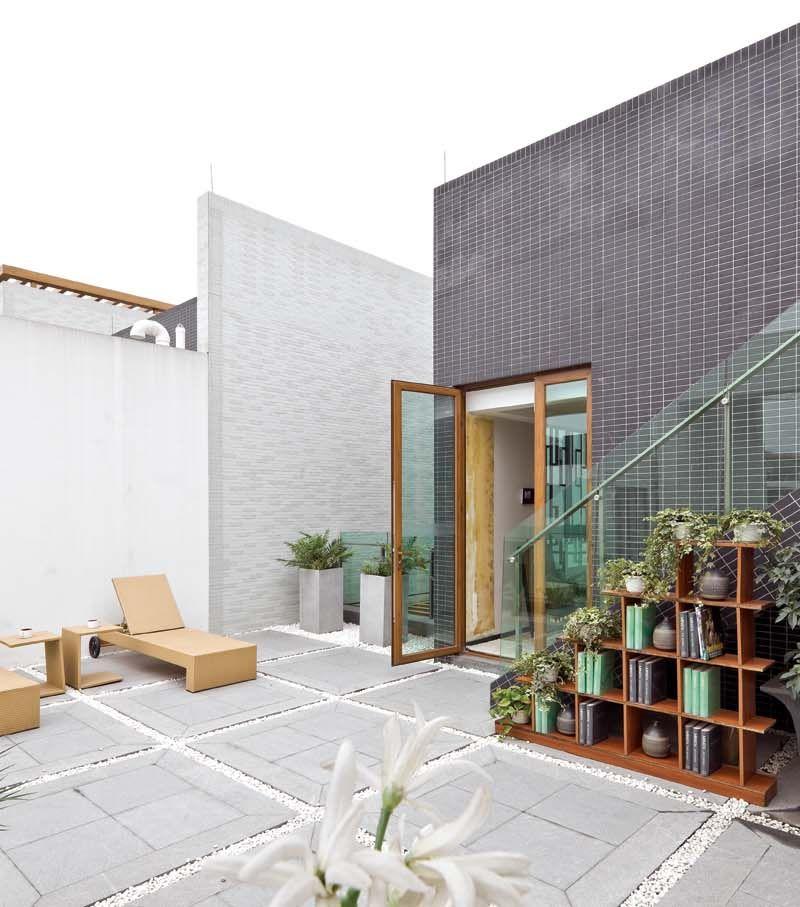 简约新中式风格别墅阳台花园设计效果图