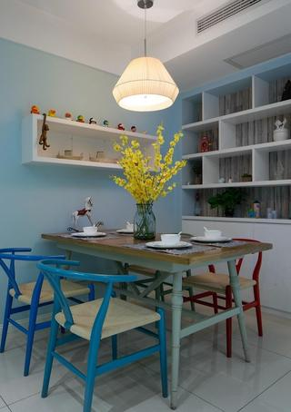 蓝色小清新北欧风餐厅装修图片