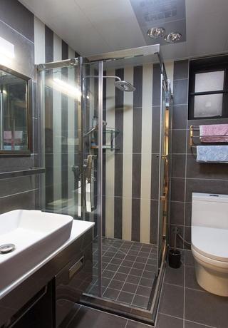 竖条纹美式卫生间淋浴房背景墙效果图