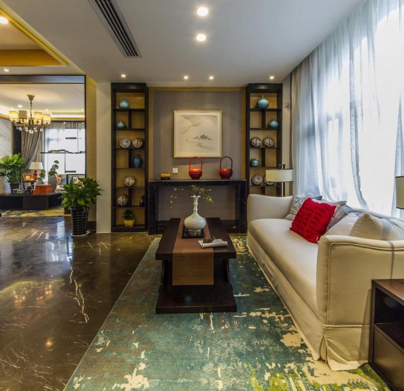 现代中式客厅博古架设计装饰效果图