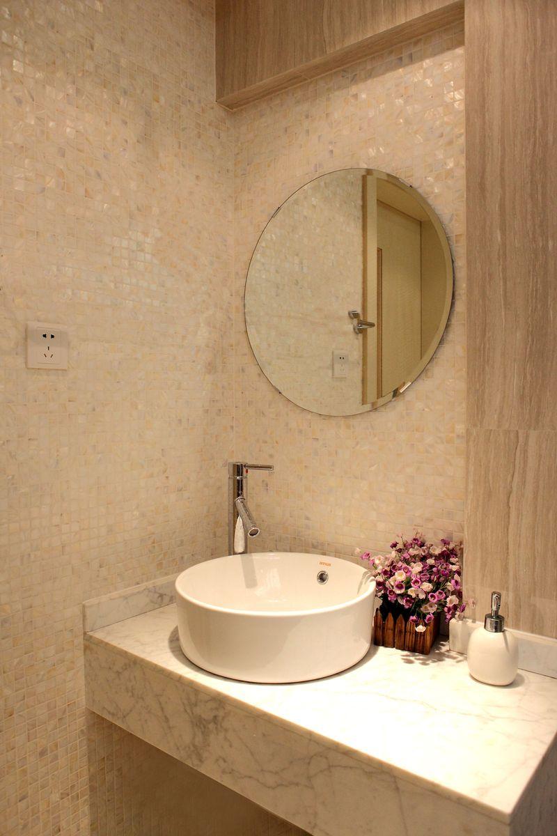 唯美现代马赛克浴室洗手台背景墙图片