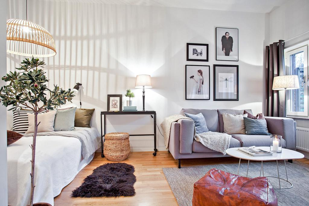 舒心简约北欧风客厅卧室一体效果图