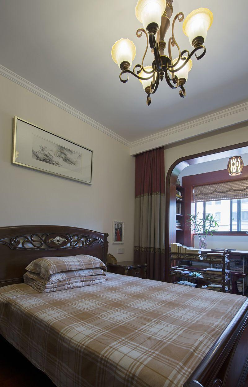 复古中式卧室书房隔断效果图片