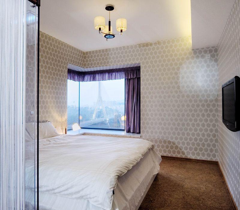 现代精致家装卧室L型飘窗设计效果图