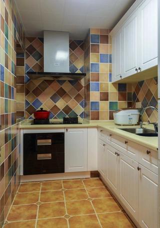 美式复古风厨房马赛克瓷砖装修效果图