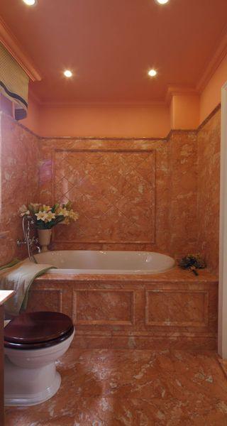 复古奢华欧式洗手间浴缸背景墙效果图
