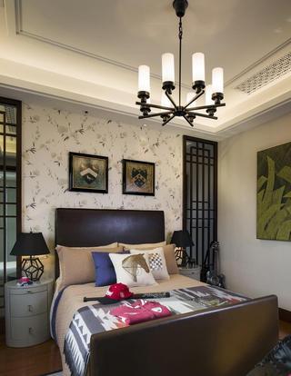 复古现代风混搭卧室背景墙效果图