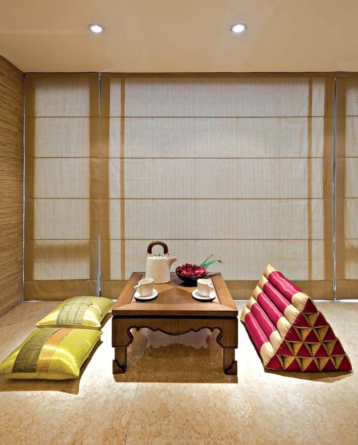 现代中式风格别墅室内榻榻米屏风设计装潢效果图