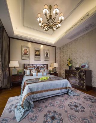 雅致新古典风格卧室吊顶效果图