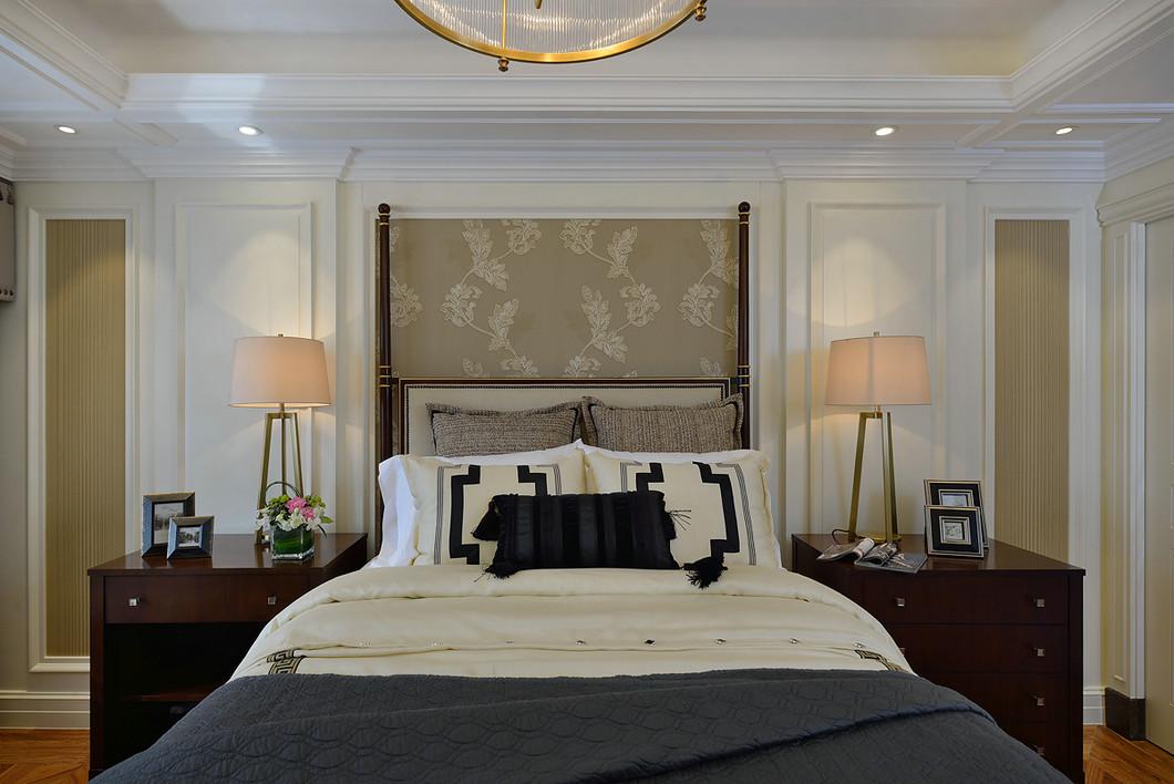 豪华美式混搭风卧室背景墙效果图