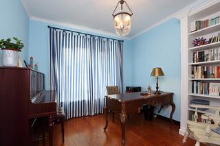 复古蓝色美式风格书房设计