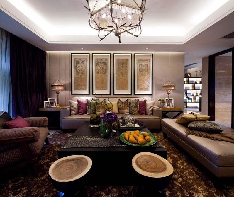 现代时尚中式混搭客厅沙发相片墙效果图
