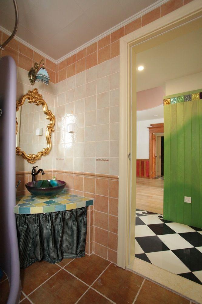 自然田园风格家居卫生间台盆装饰效果图片