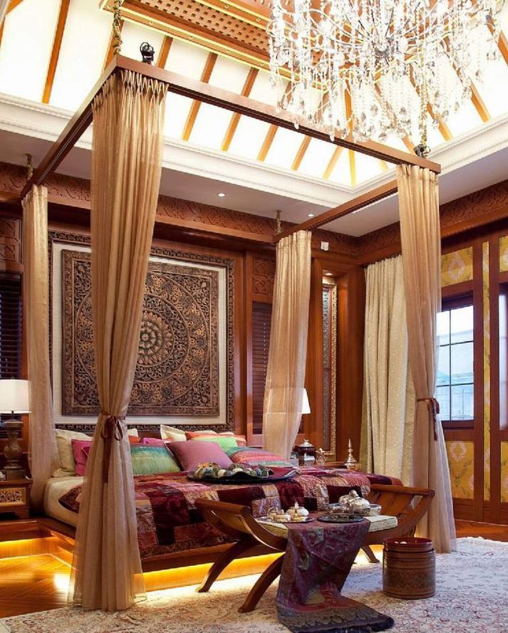 东南亚豪华风格别墅卧室丝绸帷帐效果图欣赏