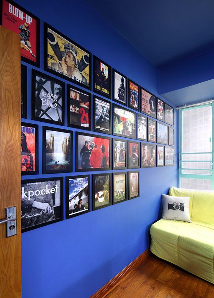 个性蓝调复古相片墙效果图