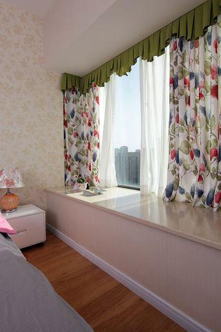 小清新田园风卧室飘窗窗帘效果图
