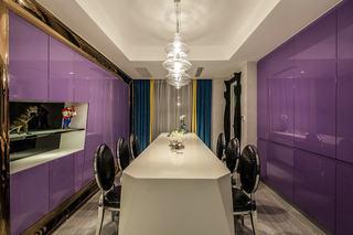 炫色波普风餐厅紫色背景墙效果图