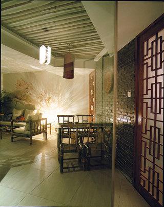 80平米昏黄仿古中式格调餐厅装潢效果图