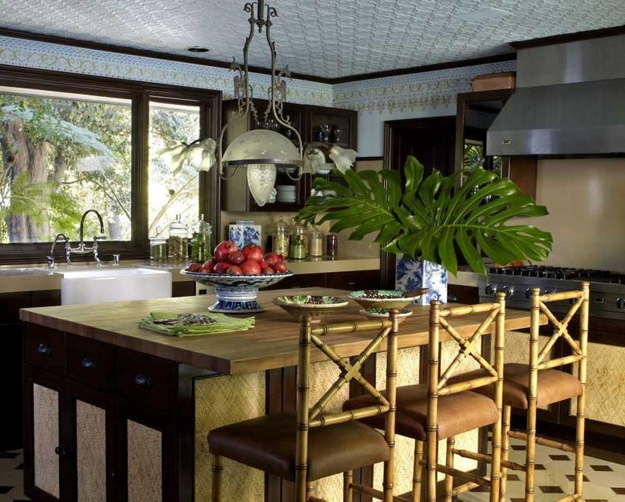 复古东南亚风情厨房餐厅一体效果图