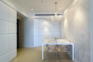 纯白时尚简约风格餐厅设计装潢效果图