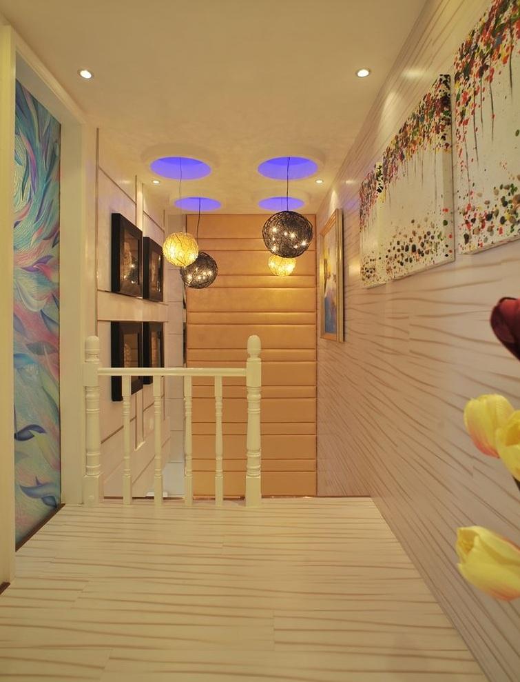 唯美现代复式楼楼梯浪漫吊灯效果图