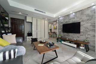 120平米三居室现代文艺风混搭家居效果图