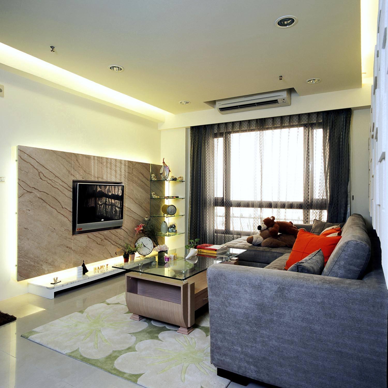 现代简约客厅微晶石电视背景墙图片