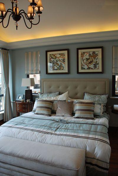 色彩明亮地中海卧室背景墙效果图