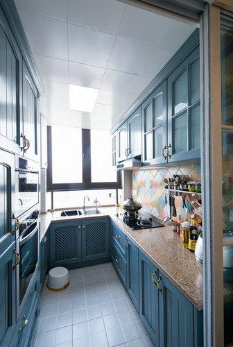 蓝色地中海风情厨房效果图