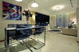 现代简约风格餐客厅一体效果图