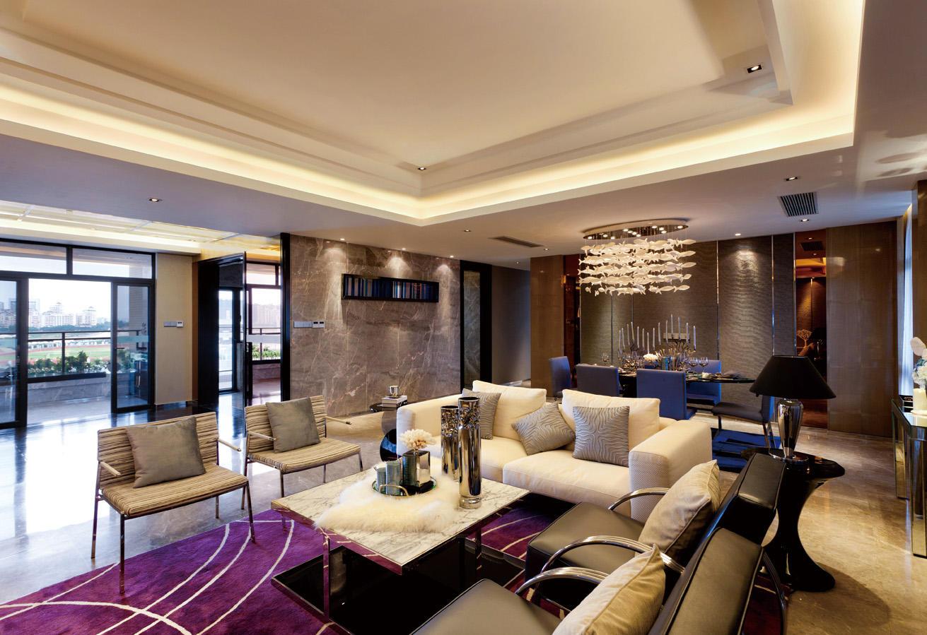 现代奢华金色系别墅大客厅效果图