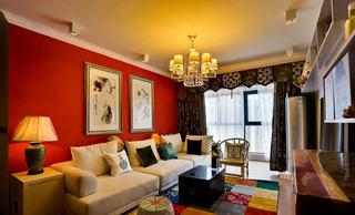 时尚撞色混搭三居室效果图