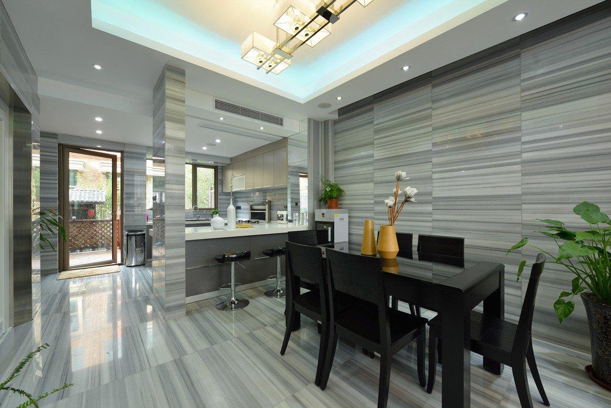 后现代吧台瓷砖背景墙餐厅设计