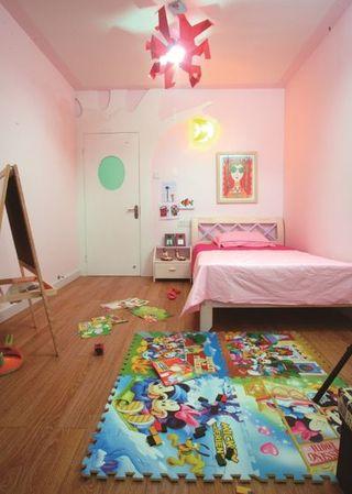 现代简约粉色系儿童房效果图