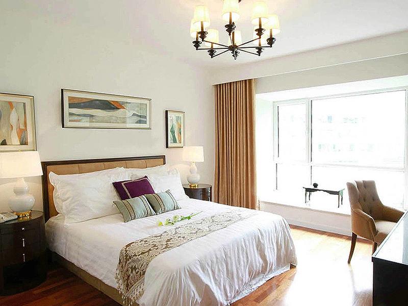 简约温馨新中式卧室背景墙效果图